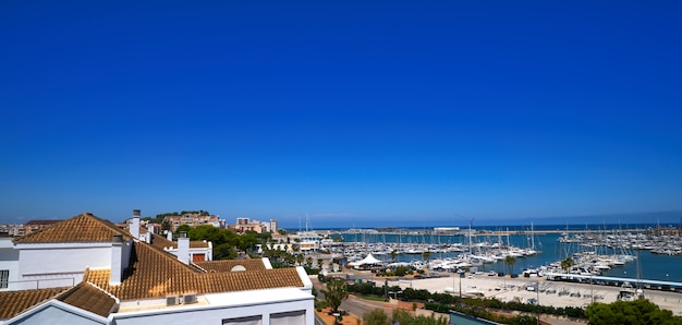 Denia skyline in mediterranean sea marina