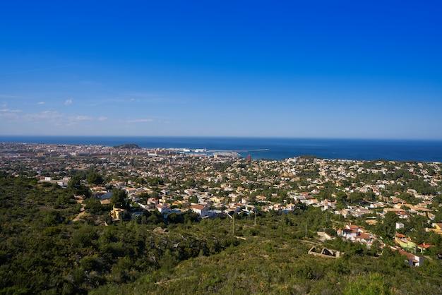 Denia skyline view from montgo mountain alicante