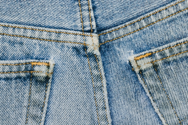 Denim back pockets close-up
