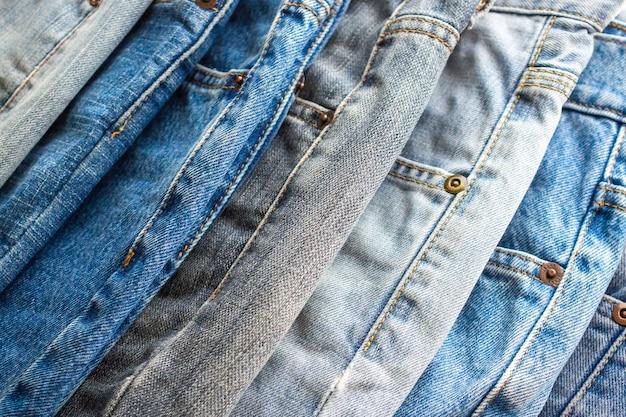 Denim jeans stacked together
