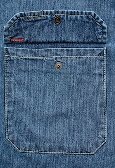 Denim shirt chest pocket with button
