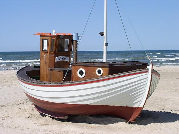 Denmark boat sea lkken  fishing beach north