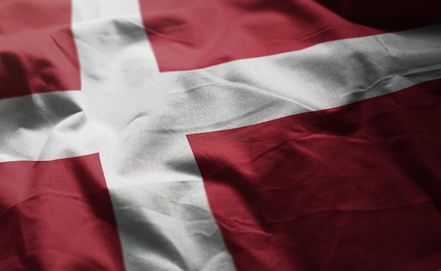 Denmark flag rumpled close up