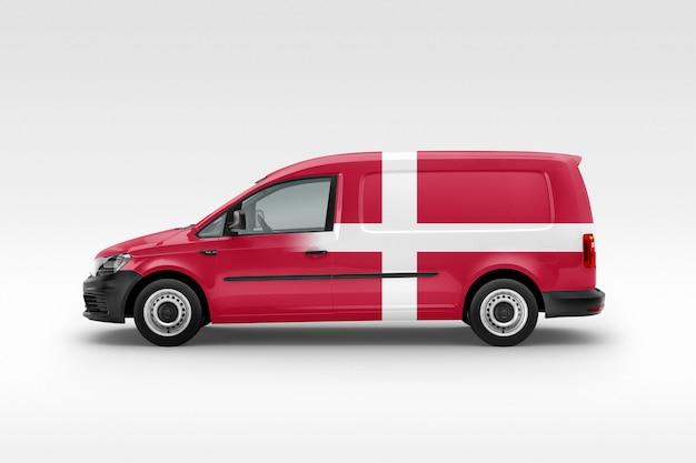 Denmark flag on van