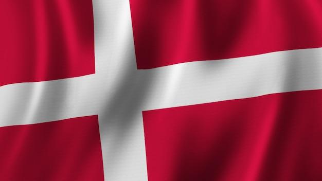 패브릭 질감으로 고품질 이미지로 근접 촬영 3d 렌더링을 흔들며 덴마크 국기