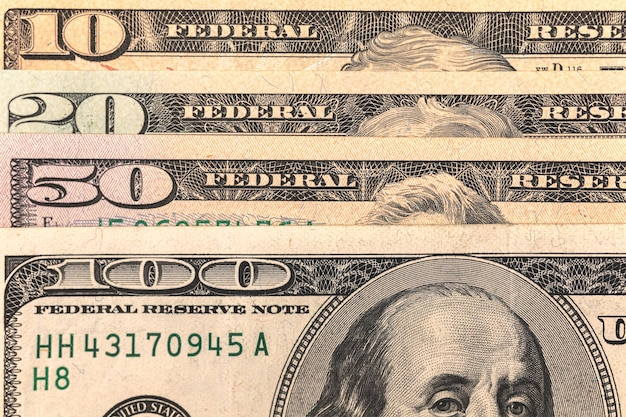 Denomination of us dollar banknotes close-up, money and currency background photo