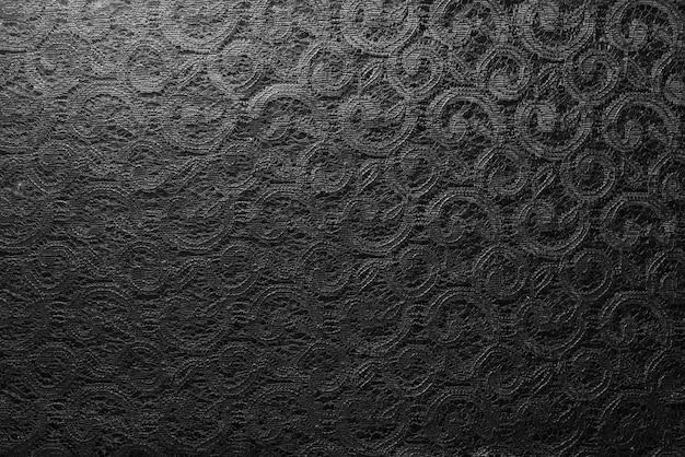 Плотная черная кружевная ткань крупным планом
