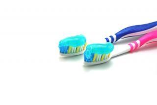 Dental brush and paste, water