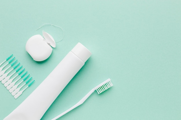 Dental care kit with copy space