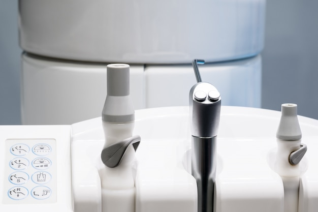 Dental equipment  on table chair for dentist.