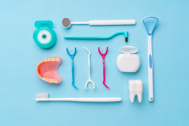 Dental equipments from the top view, flat lay in the studio