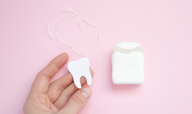 Dental hygiene and oral health concept with a dental floss box isolated