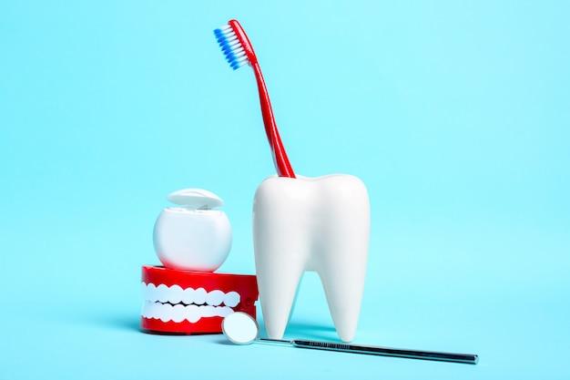 치과 거울, 인간의 턱 모델 및 밝은 파란색 배경에 칫 솔과 하얀 치아 모델 근처 치 실.