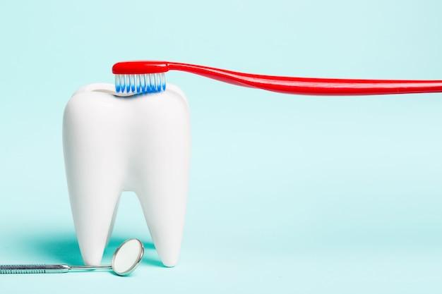 Стоматологическое зеркало возле здорового белого зуба модель с зубной щеткой на голубом фоне.