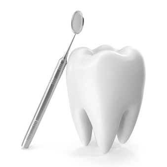 Dental mirror with tooth, care concept isolated on white background, 3d rendering