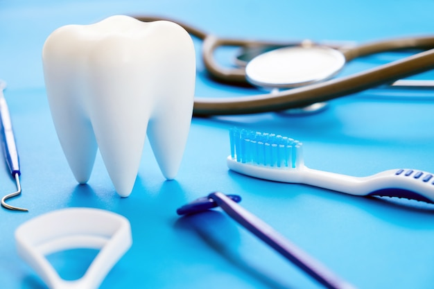 Dental model and dental equipment on blue