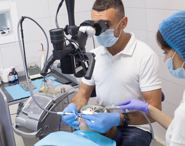 Dental procedure at the dental clinic