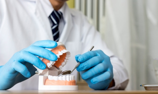 Dental prosthesis, dentures. dentist hands while working on the denture