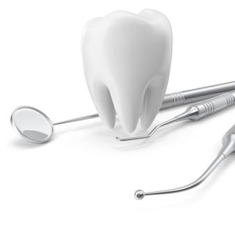 Стоматологический набор, зеркало, зонд, с зубом, концепция ухода, изолированных на белом фоне, 3d-рендеринг