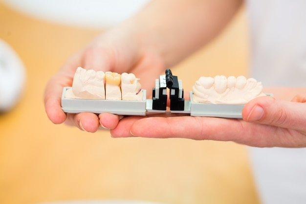 Dental technician checking denture