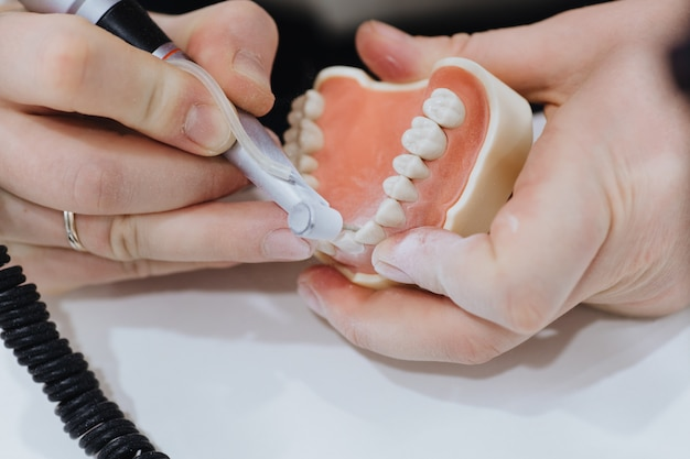 A dental technician processes a cast of the jaw.