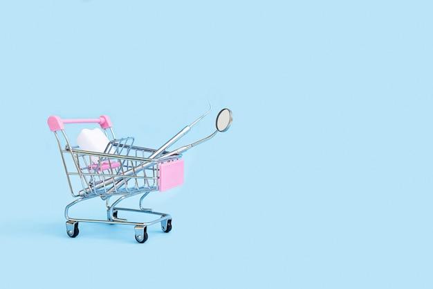 歯科用ツールは、カートバスケットトロリーのショップでプローブの歯をミラーリングします。医療用品。配送、購入、販売、オンラインショッピング