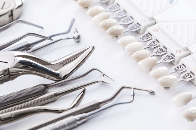 Dental tools and teeth samples
