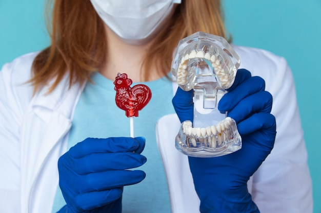 치과 의사 약속, 치과 기기 및 치과 위생사 검진 개념