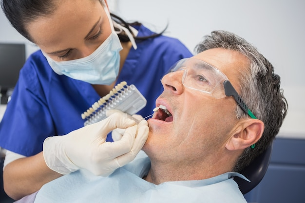 Dentist comparing teeth whitening