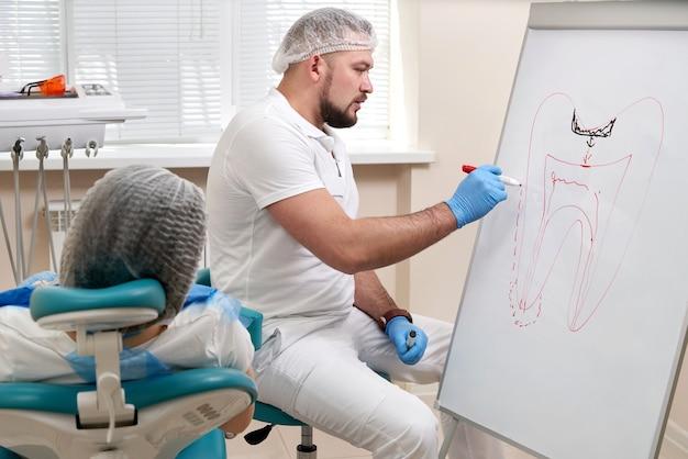 Стоматолог рисует изображение зуба на белой доске в кабинете стоматолога