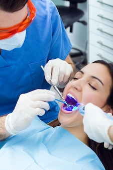 Dentist mouth uniform person happy