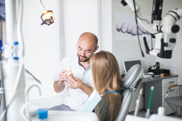 Dentist showing dental jaw to his female patient