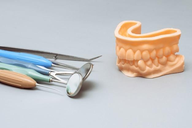 Инструменты стоматолога и искусственная челюсть на сером фоне