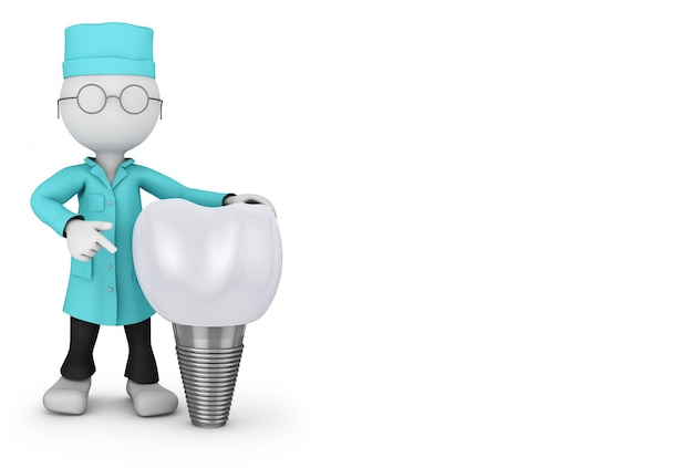 Dentist with glasses and a tooth implant