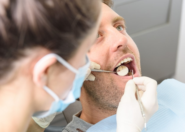 Dentist with a patient.