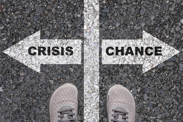 選択に応じてチャンスと危機の概念