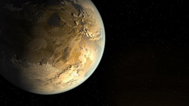 Истощение планеты земля, отсутствие воды на земле, вид из космоса. 3d иллюстрации