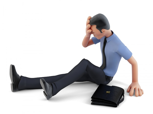 Depressed businessman sitting on the floor. 3d illustration. contains clipping path