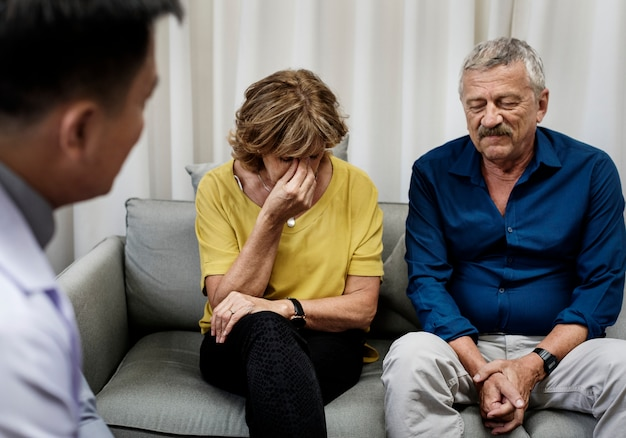 Depressed patients are getting treatment from a psychologist