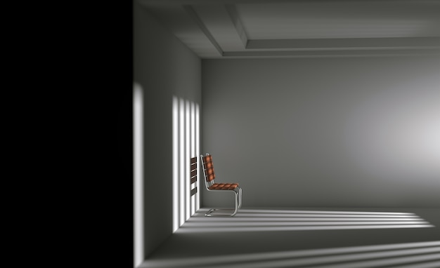 Depression concept ,abstract 3d alone chair in interior empty room