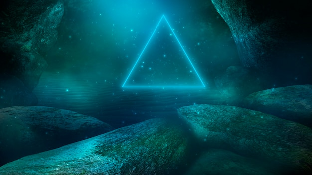 Глубина морской воды морское дно лучи солнца сквозь воду. скалы и камни под водой футуристический морской песок 3d иллюстрация