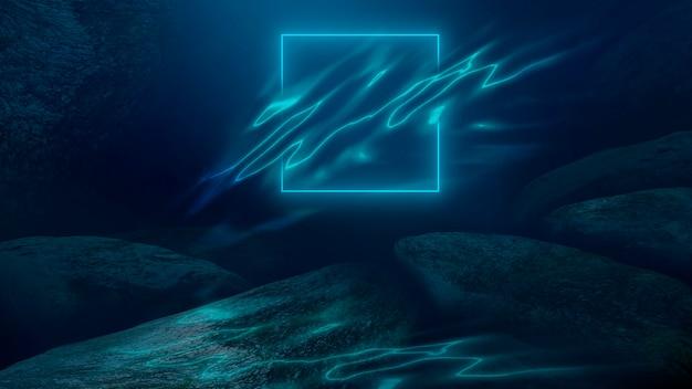 Глубина морской воды морское дно лучи солнца сквозь воду. скалы и камни под водой морской песок 3d иллюстрация