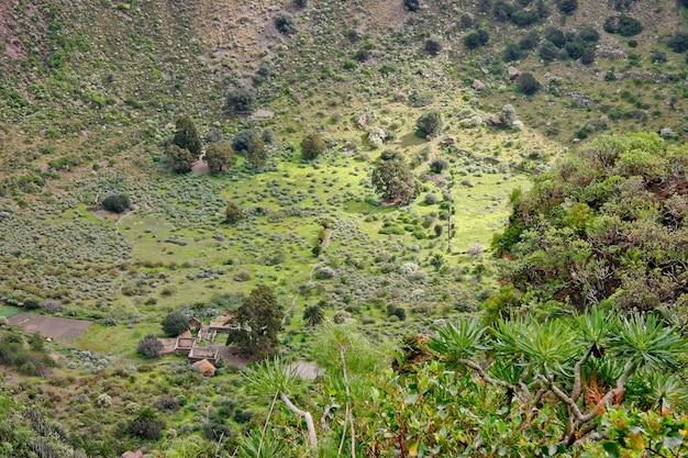 Derelict farm in a volcanic crater in gran canaria