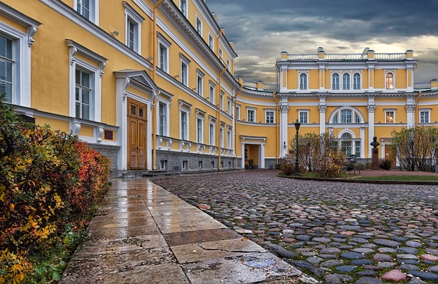 Derzhavin museum-estate in st. petersburg under a cloudy autumn sky