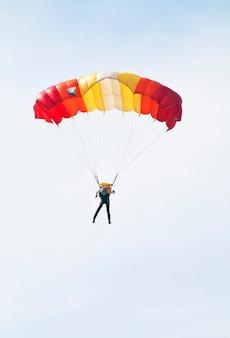 A descending skydiver. russia, orenburg. 11.08.2012
