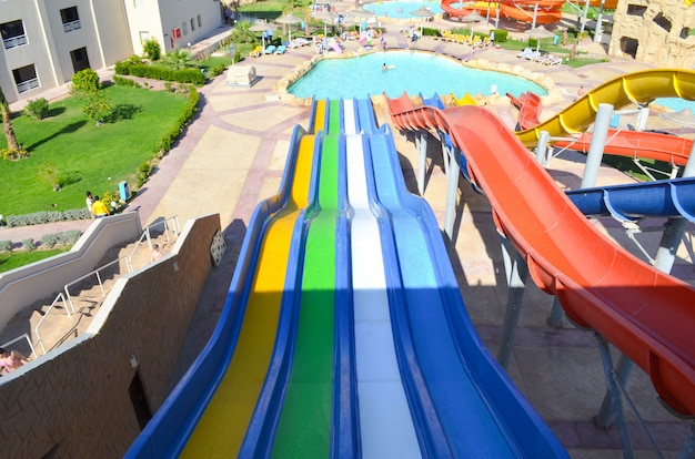Descent on the water slide in aqua park. view from above