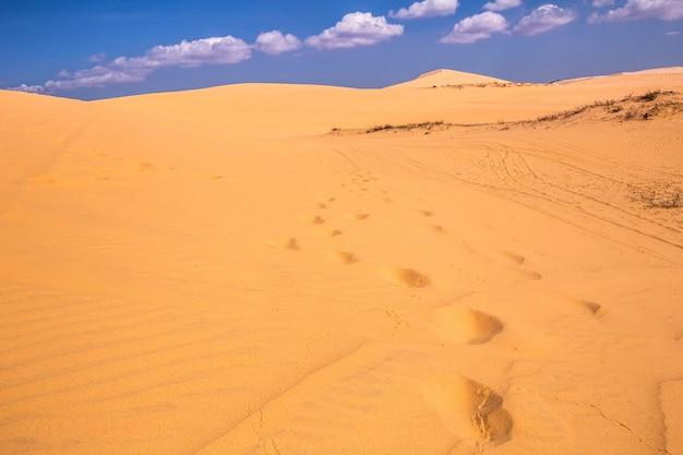 베트남 무이네의 사막과 줄무늬는 아시아 인들이 즐길 수있는 여름 여행입니다.