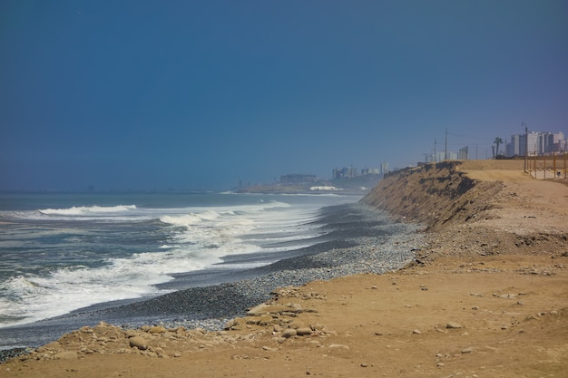 Desert area on the ocean coast in lima peru