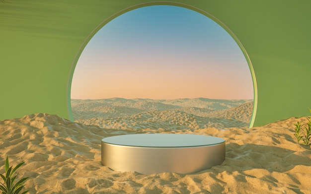 Desert beach podium with green wall and green circle portal 3d