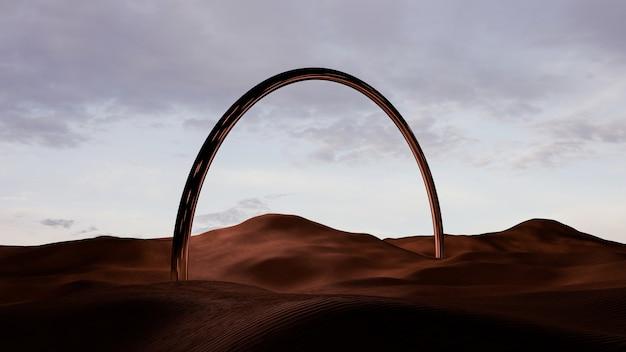 金属の弓形のモノリスと日没時の砂漠の砂丘の風景